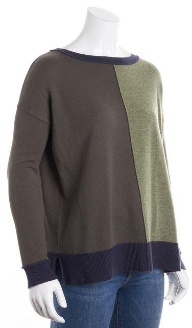 AUTUMN CASHMERE Multi-color Colorblock Cashmere Crewneck Sweater