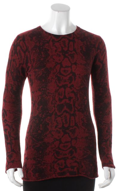 AUTUMN CASHMERE Red Black Long Sleeve Abstract Pull On Crewneck Sweater