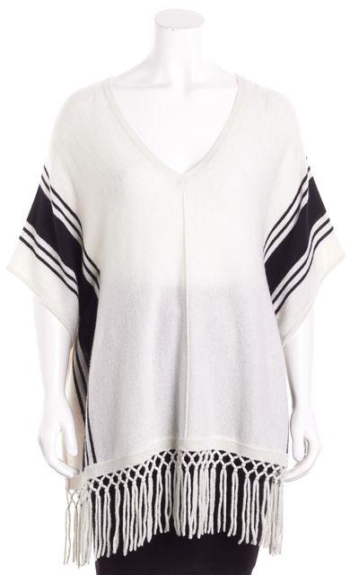 AUTUMN CASHMERE Ivory Black Striped Cashmere Poncho