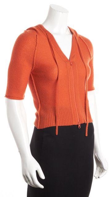 AUTUMN CASHMERE Orange Cashmere Hooded Full Zip Sweater