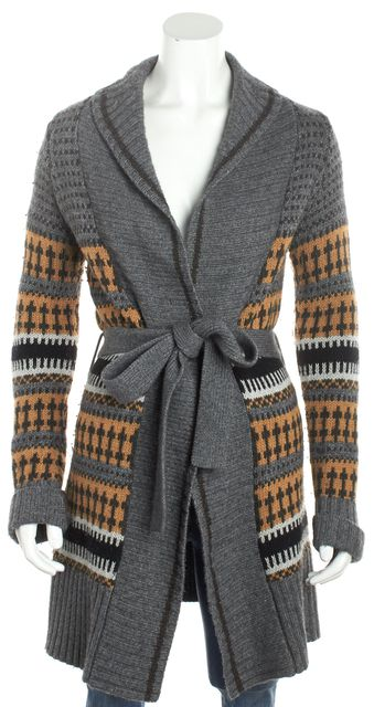 AUTUMN CASHMERE Gray Multi-Color Cashmere Abstract Belted Cardigan