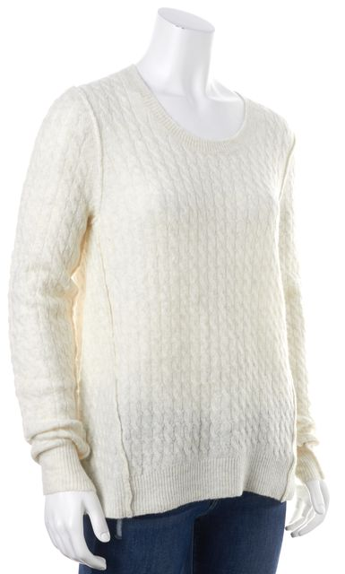 ATM ANTHONY THOMAS MELILLO Ivory Cable Knit Long Crewneck Sweater
