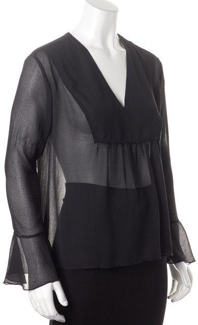 ATM ANTHONY THOMAS MELILLO Black Sheer Blouse Top