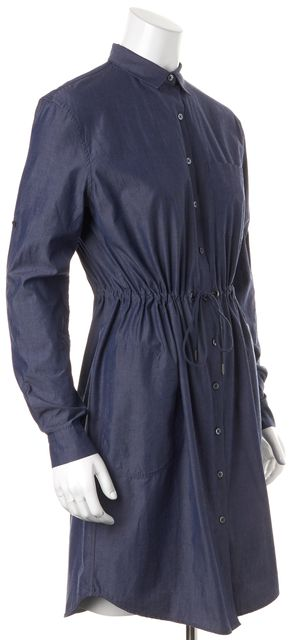 ATM ANTHONY THOMAS MELILLO Dark Blue Jean Long Sleeve Shirt Dress