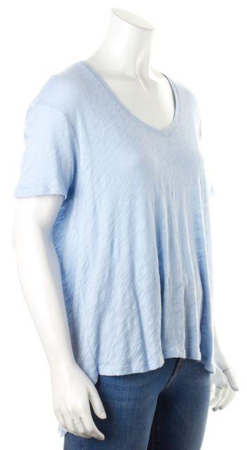 ATM ANTHONY THOMAS MELILLO Light Blue Semi Sheer Cotton V-Neck T-Shirt