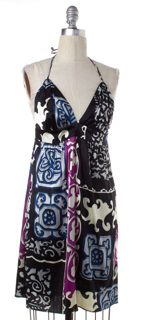 ALICE & TRIXIE Black Purple Blue Silk Empire Waist Halter Mini Dress