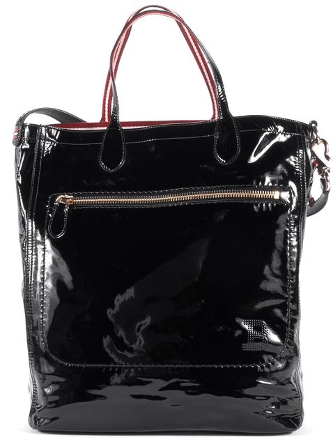BALLY Black Patent Leather Silver-Tone Hardware Tote