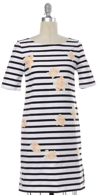 BAND OF OUTSIDERS White Black Striped Floral Print Shift Dress