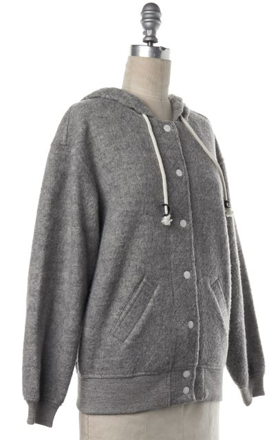BAND OF OUTSIDERS Gray Cotton Wool Knit Snap Button Down Hooded Jacket