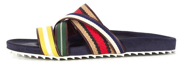 BAND OF OUTSIDERS Blue Multi Striped Strappy Shower Slip-On Sandals