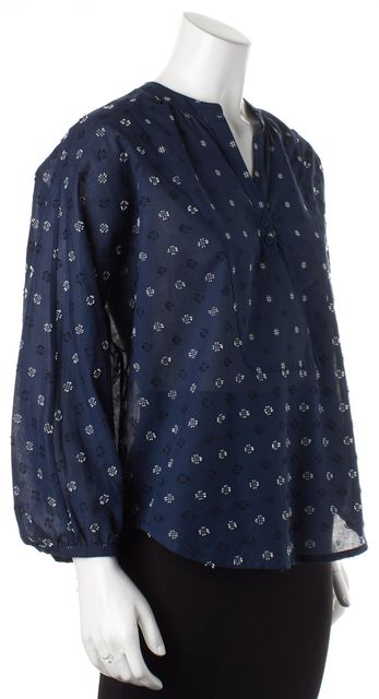 BAND OF OUTSIDERS Navy Blue White Geometric Embroidered Blouse Top