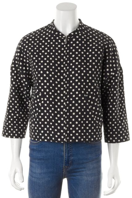 BAND OF OUTSIDERS Black Ivory Polka Dot Cotton Zip Up Jacket