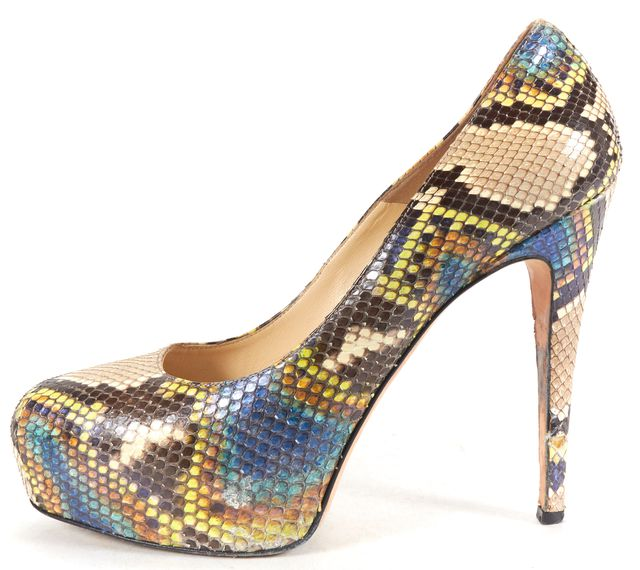 BRIAN ATWOOD Beige Multi-color Snakeskin Emboss Leather Pump Heels