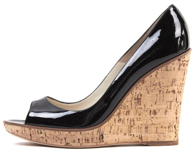 BRIAN ATWOOD Black Patent Leather Peep Toe Cork Wedges