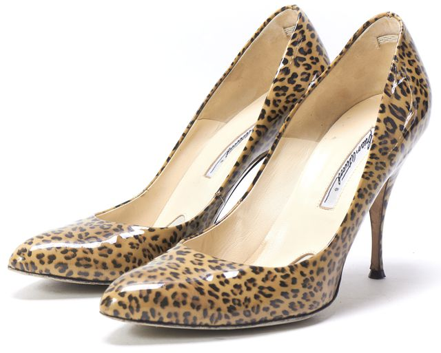 BRIAN ATWOOD Beige Leopard Printed Patent Leather Vernis Scarpa Pumps