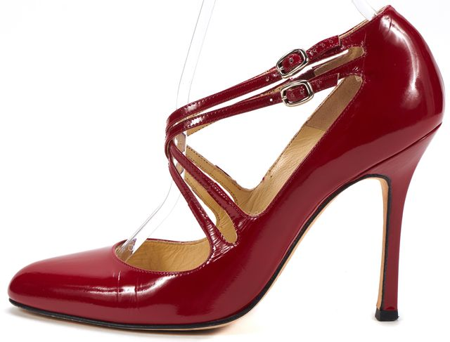 BRIAN ATWOOD Red Patent Leather Cross Strap Almond Toe Pump Heels
