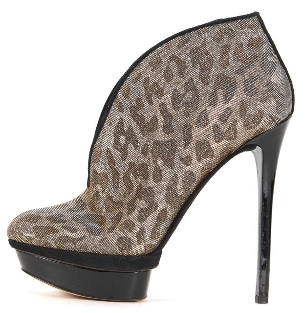 BRIAN ATWOOD Silver Gold Leopard Print Suede Trim Platform Bootie Shoes
