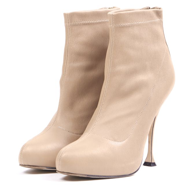 BRIAN ATWOOD Beige Leather Chance Zip Back Hidden Platform Ankle Booties