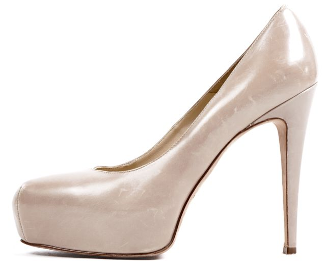 BRIAN ATWOOD Beige Leather Platform Pumps