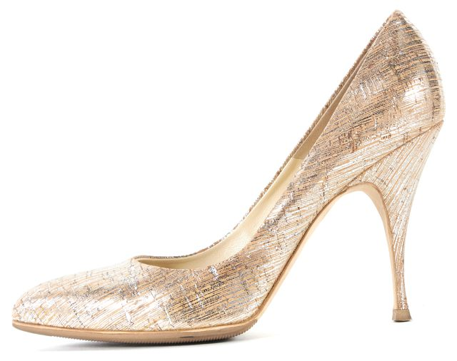 BRIAN ATWOOD Beige Silver Printed Cork Pointed Toe Starlett Heels