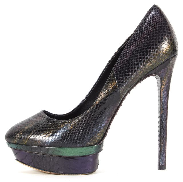 BRIAN ATWOOD Iridescent Snake Embossed Leather Ferguson Platform Pumps