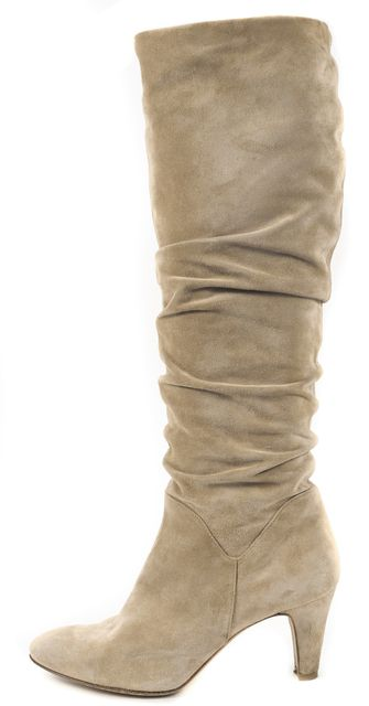 BRIAN ATWOOD Beige Suede Pointed Toe Slouchy Heeled Knee-High Boots