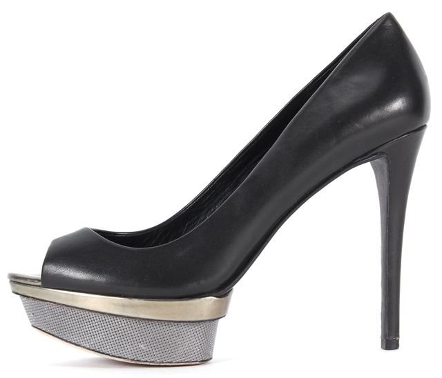 BRIAN ATWOOD Black Leather Open Toe Platform Pumps