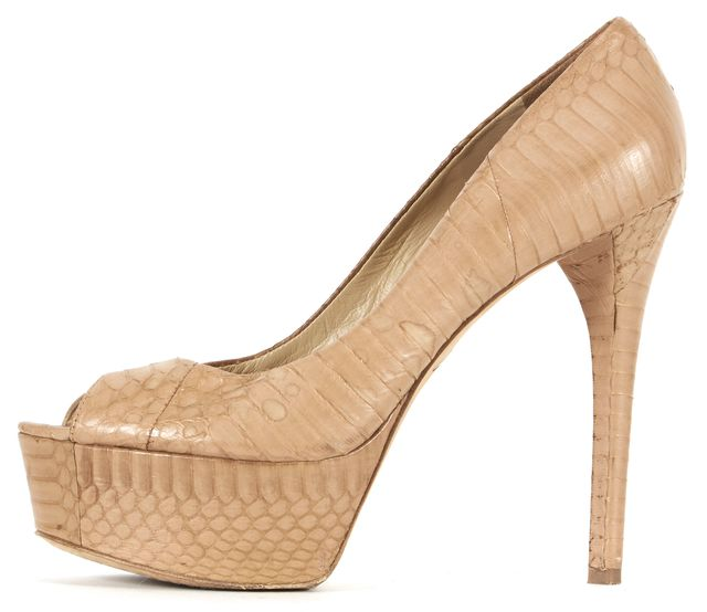 BRIAN ATWOOD Beige Snake Print Embossed Leather Pumps