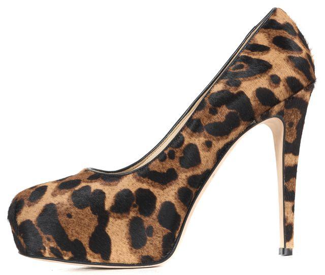 BRIAN ATWOOD Brown Leopard Printed Calf-Hair Platform Pumps Heels