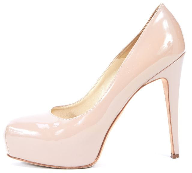 BRIAN ATWOOD Taupe Beige Patent Leather Platform Heels