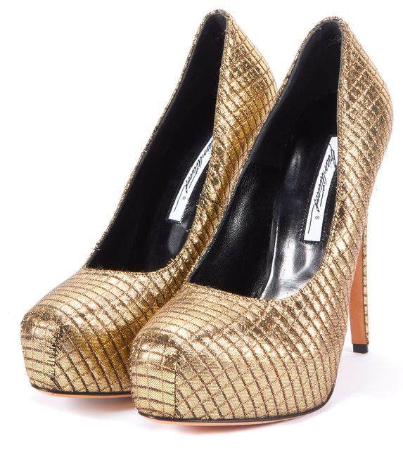 BRIAN ATWOOD Gold Silk Quilt Pump Heels Size US 8.5 IT 39