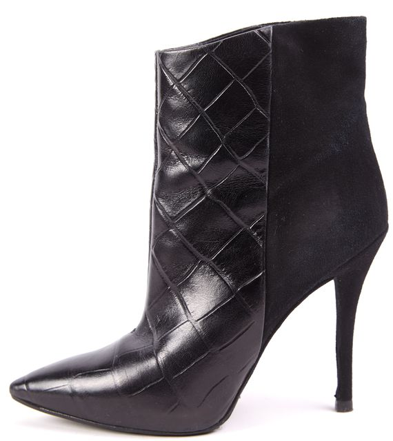 BRIAN ATWOOD Black Quilted Leather Suede Ankle Boot Heels