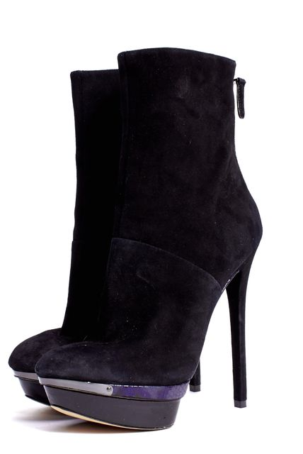 B BRIAN ATWOOD Black Suede Leather Snake Emboss Trim Platform Ankle Boots
