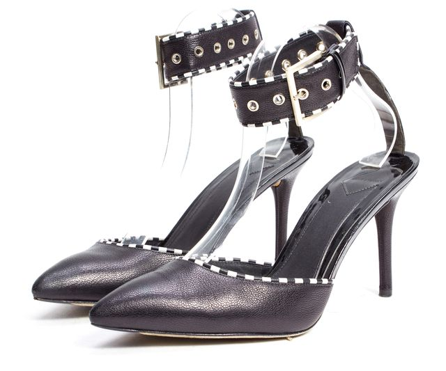 B BRIAN ATWOOD Black Leather White Detail Ankle Strap Heels