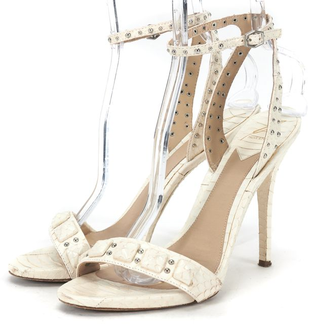 B BRIAN ATWOOD White Embossed Leather Catena Ankle Strap Heels