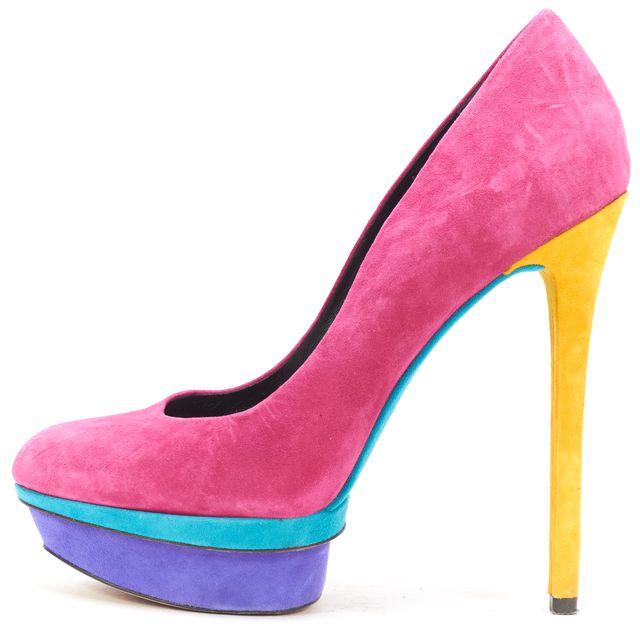 B BRIAN ATWOOD Pink Multi Color Suede Platform Pumps