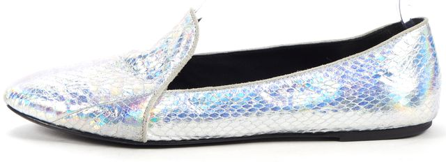 B BRIAN ATWOOD Metallic Silver Embossed Leather Slip-On Round Toe Flats
