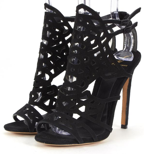 B BRIAN ATWOOD Black Suede Leather Cut-Out Sandals Pumps Heels