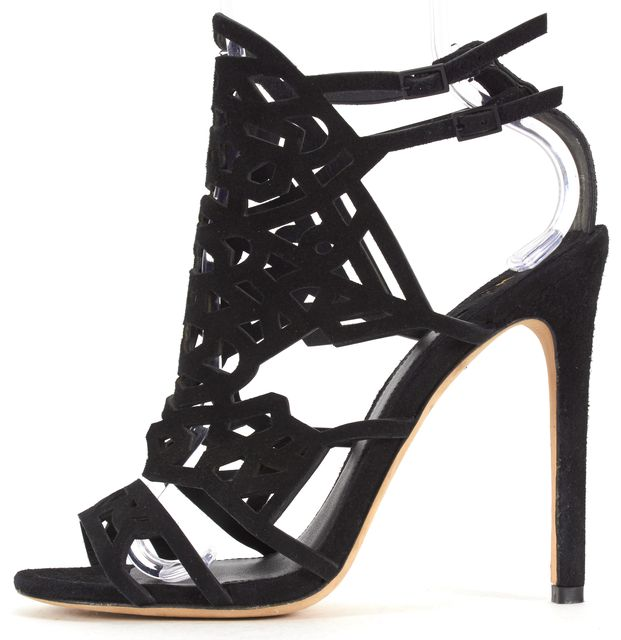 B BRIAN ATWOOD Black Suede Cut-Out Sandal Heels