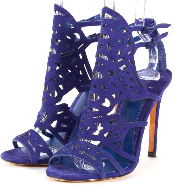 B BRIAN ATWOOD Royal Blue Laser Cut Suede Laplata Sandal Heels