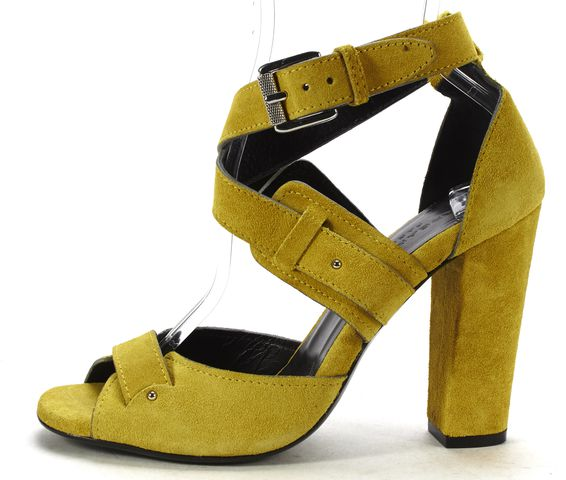 BARBARA BUI Mustard Yellow Suede Strappy Criss Cross Block Heel Sandals