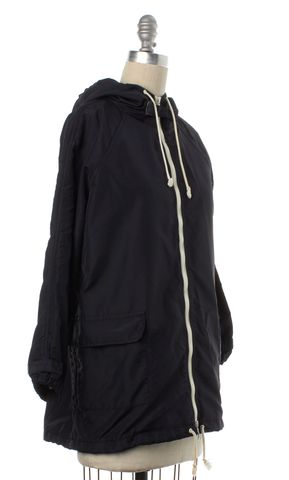 BOY BY BAND OF OUTSIDERS Black Windbreaker Zip Up Hooded Jacket Size 1 S