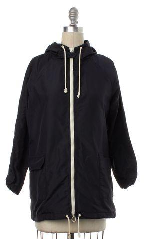 BOY BY BAND OF OUTSIDERS Black Windbreaker Zip Up Hooded Jacket Size 1 S
