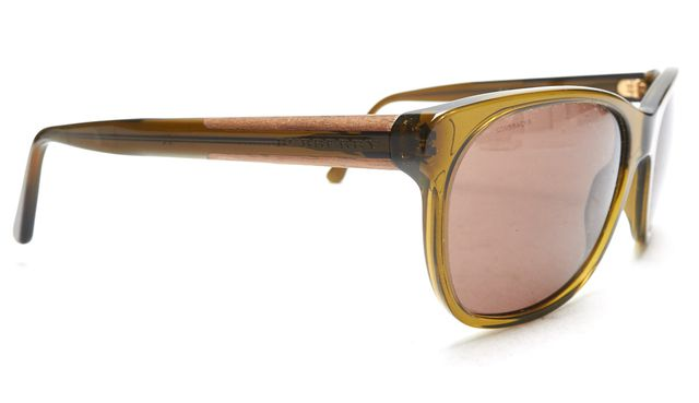 BURBERRY Olive Green Acetate Frame Wood Details Brown Lens Sunglasses