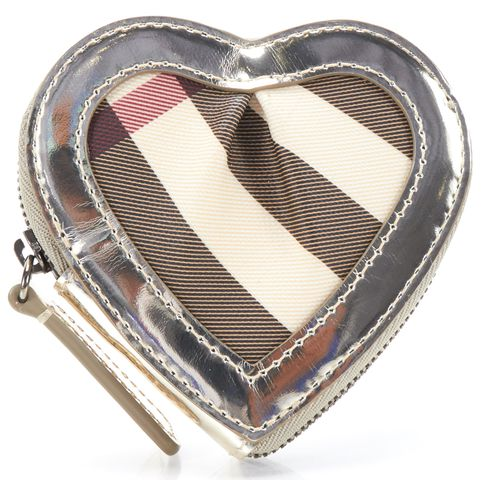 BURBERRY Authentic Beige Gold Nova Check Canvas Heart Coin Purse Wallet