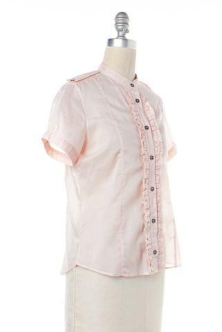 BURBERRY Pink Sheer Cotton Mandarin Collar Ruffled Blouse Top