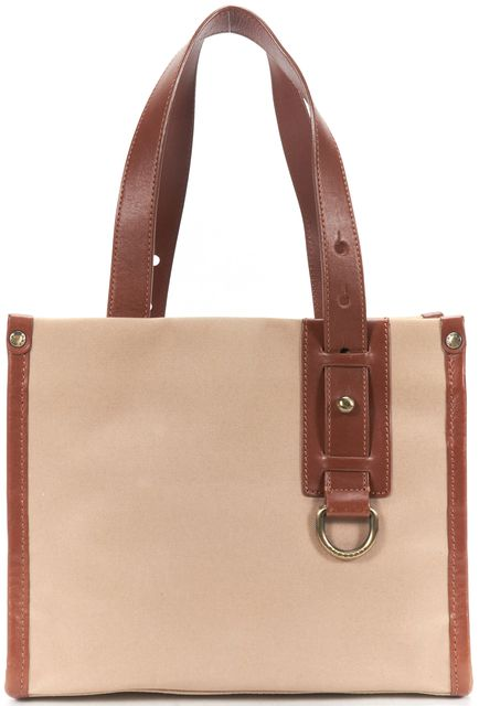BURBERRY Brown Beige Leather Canvas Mini Tote Bag
