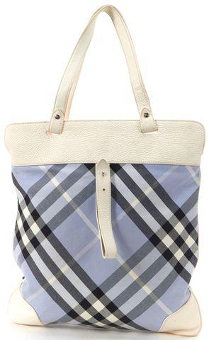BURBERRY Blue Nova Check White Leather Tote Bag
