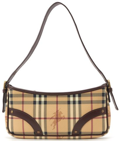 BURBERRY Brown Beige Haymarket Check Canvas Shoulder Handbag