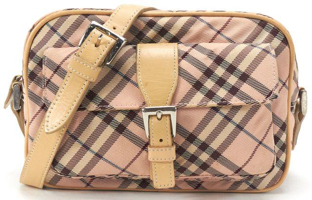 BURBERRY Pink Nude Nova Check Canvas Crossbody Handbag